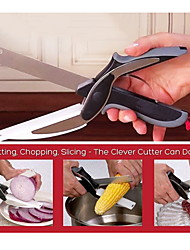 cheap -Stainless Steel Clever Cutter Kitchen Scissors with Sharp Knife Blade Cutting Board Kid Food Cutter