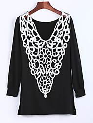 Femme Dos Nu Tee-shirt Aux s,Mosaïque Décontracté/Quotidien Sexy Toutes les Saisons Manches Longues Col Arrondi Rouge/Beige/NoirCoton/