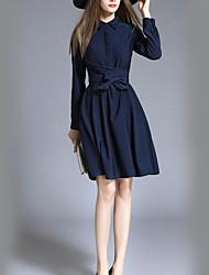 Women's Casual/Daily Simple Sheath Dress,Solid Shirt Collar Knee-length Long Sleeve Blue Cotton Fall / Winter High Rise Micro-elastic