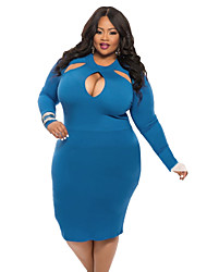 Women's Plus Size / Casual/Daily Simple Bodycon Dress,Solid Round Neck Above Knee Long Sleeve Blue / Red / Black / Green / PurpleCotton /