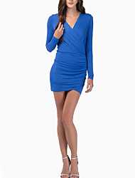 Women's Casual/Daily Simple Sheath Dress,Striped Square Neck Above Knee Long Sleeve Blue / Red Polyester Fall / Winter Mid Rise