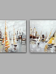 cheap -Hand-Painted Landscape Square, Classic Modern Canvas Oil Painting Home Decoration Two Panels