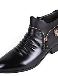 お買い得  -男性用 靴 PUレザー 秋 冬 コンバットブーツ コンフォートシューズ ブーツ ジッパー のために カジュアル ブラック