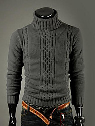 Men's Casual/Daily Vintage Simple Regular Pullover,Solid Turtleneck Long Sleeves Wool Winter Thick Stretchy
