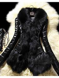 Для женщин На каждый день Зима Пальто Однотонный Длинная Длинный рукав Меховая оторочка