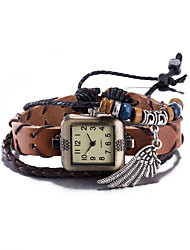 cheap -Women's Fashion Watch Wrist watch Bracelet Watch Quartz Water Resistant / Water Proof Leather Band Vintage Bohemian Bangle Brown