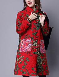 Feminino Longo Casaco Acolchoado,Fofo Bordado Casual-Algodão Algodão Manga Longa Colarinho Chinês Azul / Vermelho
