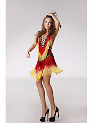 Latin Dance Dresses Women's Performance Polyester Sequined Paillettes Tassel(s) 1 Piece Sleeveless High Dress