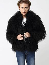 Men's Going out Simple Fur Coat,Solid Shirt Collar Long Sleeve Fall / Winter Black Faux Fur Medium