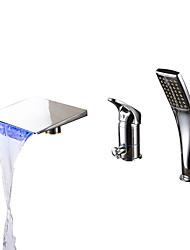preiswerte -Moderne Romanische Wanne Wasserfall Handdusche inklusive LED Keramisches Ventil Drei Löcher Einhand Drei Löcher Chrom, Badewannenarmaturen