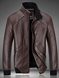 Men's Daily Going out Simple Casual Winter Leather Jacket,Solid Long Sleeve Regular