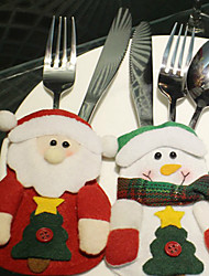 cheap -3PCS Christmas Products Santa Claus Table Tableware Bag Pattern Is Random