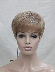 cheap -High Quality Synthetic Small Monofilament Top  Lightweight Light Strawberry Blonde Mix Blonde Women's Short Wig