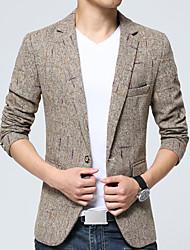 Herren Einfarbig Einfach Lässig/Alltäglich Blazer,Hemdkragen Frühling Herbst Langarm Standard Baumwolle Acryl Polyester