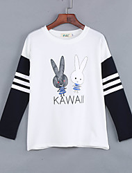 Women's Cute Character White / Black Hoodies , Casual / Plus Sizes Round Neck Long Sleeve