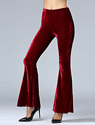 Women's Straight Chinos PantsGoing out / Casual/Daily Simple / Street chic Pleuche Bell-bottoms Slim Solid Mid Rise Elasticity  Micro-elasticSpring