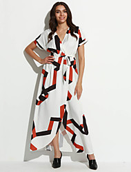 cheap -Women's Street chic Swing Dress Split Print Maxi Shirt Collar