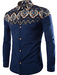 billige -Herre-Ensfarvet Geometrisk Vintage Skjorte
