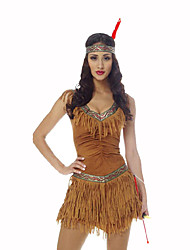 cheap -American Indian Women's Christmas Halloween Carnival Oktoberfest New Year Children's Day Festival / Holiday Halloween Costumes Yellow