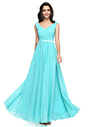A-Line V-neck Floor Length Chiffon Bridesmaid Dress with Sash / Ribbon Criss Cross Pleats by LAN TING BRIDE®