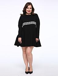Damen T Shirt Kleid-Lässig/Alltäglich Einfach Solide Rundhalsausschnitt Übers Knie Langarm Schwarz Baumwolle Mittlere Hüfthöhe