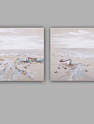 Pintados à mão Abstracto / Paisagens Abstratas Pinturas a óleo,Modern / Clássico 2 Painéis Tela Hang-painted pintura a óleo For Decoração