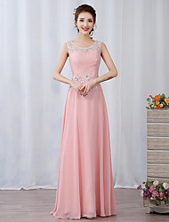 A-Line Illusion Neckline Floor Length Chiffon Lace Prom Formal Evening Dress with Beading Appliques Flower(s) by TS Couture®
