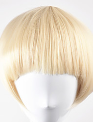 Women Synthetic Wig Capless Short Straight Golden Blonde Bob Haircut Natural Wig Costume Wigs