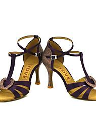 Damer Latin Salsa Satin Silke Sandaler Hæle Professionel Optræden Spænde Rosette Personligt tilpassede hæle Blå Lys pink Bronze Mandel