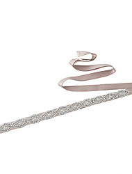 Satin Wedding Party/ Evening Dailywear Sash With Rhinestone Beading Imitation Pearl