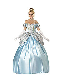 Princess Fairytale Cosplay Costumes Female Halloween Carnival Festival/Holiday Halloween Costumes LightBlue Solid
