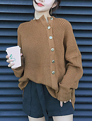 Women's Casual/Daily Simple Street chic Regular Pullover,Solid Brown Asymmetrical Long Sleeve Polyester Fall Winter Thick Micro-elastic