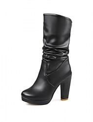 Недорогие -Жен. Обувь Лакированная кожа Дерматин Зима Осень Удобная обувь Оригинальная обувь В ковбойском стиле Зимние сапоги Верховые ботинки