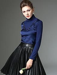 Feminino Camiseta Informal / Trabalho Simples Inverno,Sólido / feito à mão Azul / Vermelho / Preto Poliéster / Fibra Sintética / Elastano