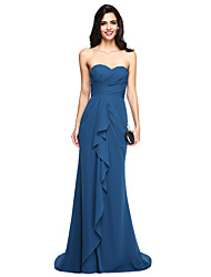 cheap -Sheath / Column Sweetheart Sweep / Brush Train Chiffon Bridesmaid Dress with Ruffles Criss Cross Ruching by LAN TING BRIDE®