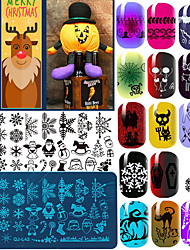 cheap -10Pcs Stamping Plate Nail Stamping Template Daily Fashion High Quality