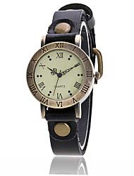 baratos -Mulheres Relógio de Moda Relógio de Pulso Quartzo Punk Couro Banda Vintage Pendente Bracelete Legal CasualPreta Branco Azul Vermelho