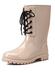 Для женщин Обувь Полиуретан ПВХ Осень Резиновые сапоги Ботинки Круглый носок Сапоги до середины икры Назначение Повседневные Черный