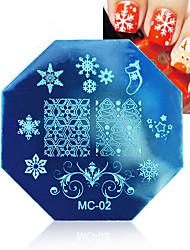 1 Stück Weihnachten Nail Art Stamping Schablone Platten mit Stempel