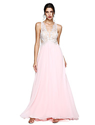 A-Line V-neck Floor Length Chiffon Prom Formal Evening Dress with Appliques Pleats by TS Couture®