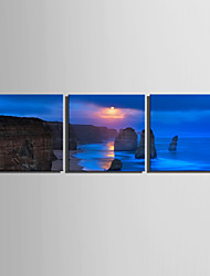 E-HOME Stretched Canvas Art Sunset Coast Decoration Painting  Set of 3