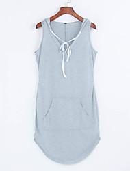 Damen Hülle Kleid-Ausgehen Einfach Aktiv Solide Mit Kapuze Mini Ärmellos Polyester Sommer Mittlere Hüfthöhe Mikro-elastisch
