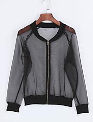 Damen Solide Street Schick Lässig/Alltäglich Blazer,Rundhalsausschnitt Sommer Langarm Schwarz Polyester Mittel