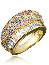 cheap -Women's AAA Cubic Zirconia Gold Plated / 18K Gold Ring - Gold / White Ring For Wedding / Party / Daily