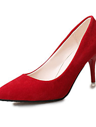 Women's Heels Suede Spring Fall Casual Dress Walking Stiletto Heel Platform Dark Blue Gray Ruby Blushing Pink Light Pink 1in-1 3/4in