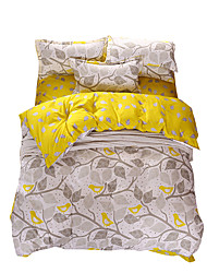 cheap -Duvet Cover Sets Leaf Polyester Reactive Print 4 Piece