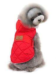 abordables -Chat Chien Manteaux Pulls à capuche Gilet Vêtements pour Chien Couleur Pleine Gris Rouge Coton Costume Pour les animaux domestiques Homme