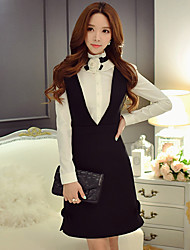 DABUWAWA Women's Going out / Casual/Daily / Holiday Vintage / Cute / Sophisticated A Line / Sheath / Little Black Dress,Solid Deep V Above Knee