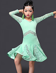 cheap -Latin Dance Dresses Performance Milk Fiber Lace Ruffles Long Sleeves Dress