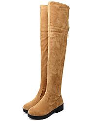 Недорогие -Для женщин Обувь Мех Весна Осень Зима Гладиаторы В ковбойском стиле Зимние сапоги Верховые ботинки Модная обувь Мотоциклетные ботинки